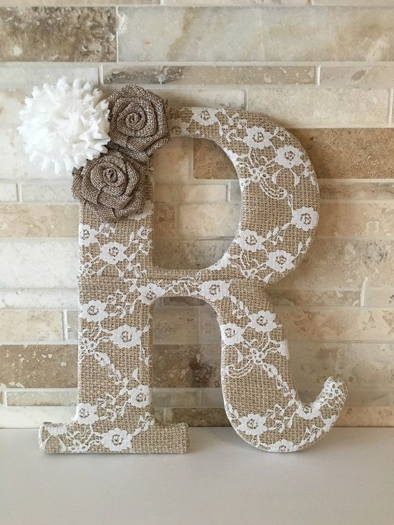 Burlap and lace 9 5 lace burlap letter by for Burlap and lace bedroom