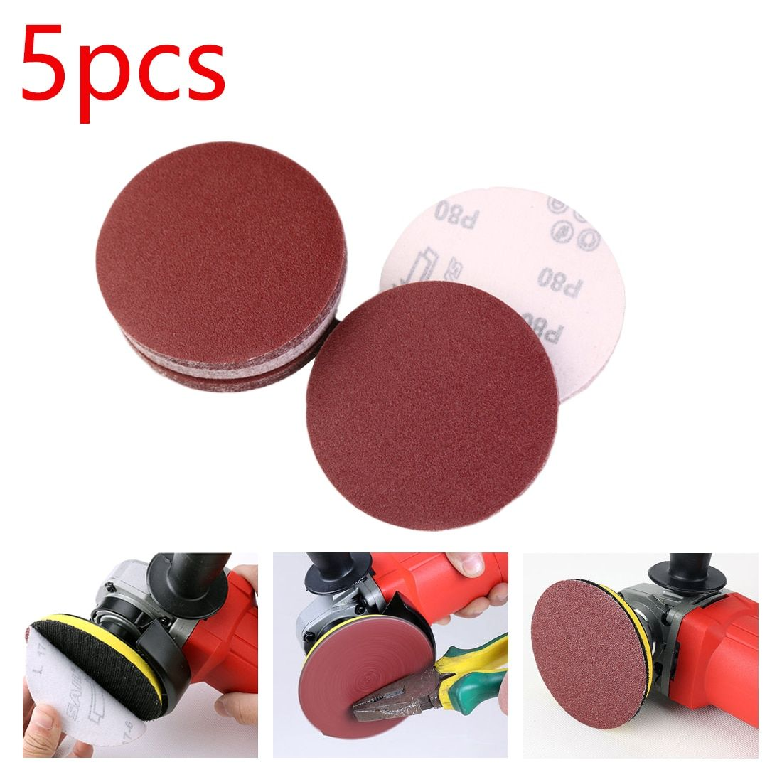 Low Price 5pcs 125 Mm Round Sandpaper Disk Sand Sheets Grit 80 1000 Hook Loop Sanding Disc For Sander Grits Red Polishing Discs P Hook Loop Sanding Sandpaper