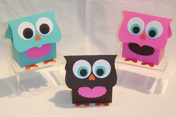 10 Owl Party Favor Boxes - Gift Box, Birthday, Shower (Kit)
