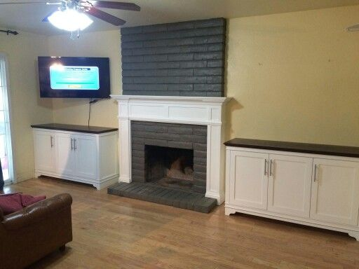 AWL PLAN IT CABINET ,Custom made two tone fireplace and side ...