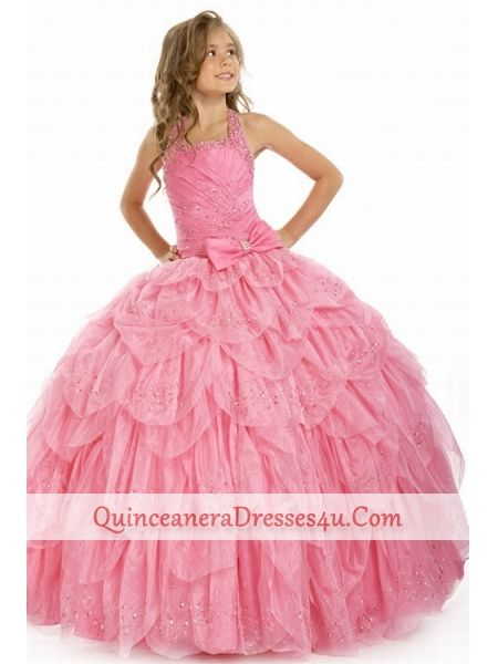 peritty little girls dresses - Pretty ball gown halter-top floor ...