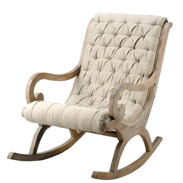 Beau Linen And Whitewashed Reclaimed Wood Rocking Chair. I Love Rocking Chairs.