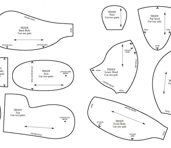 Bear Pattern Printable Templates, Teddy Bear Sewing Patterns Free ...