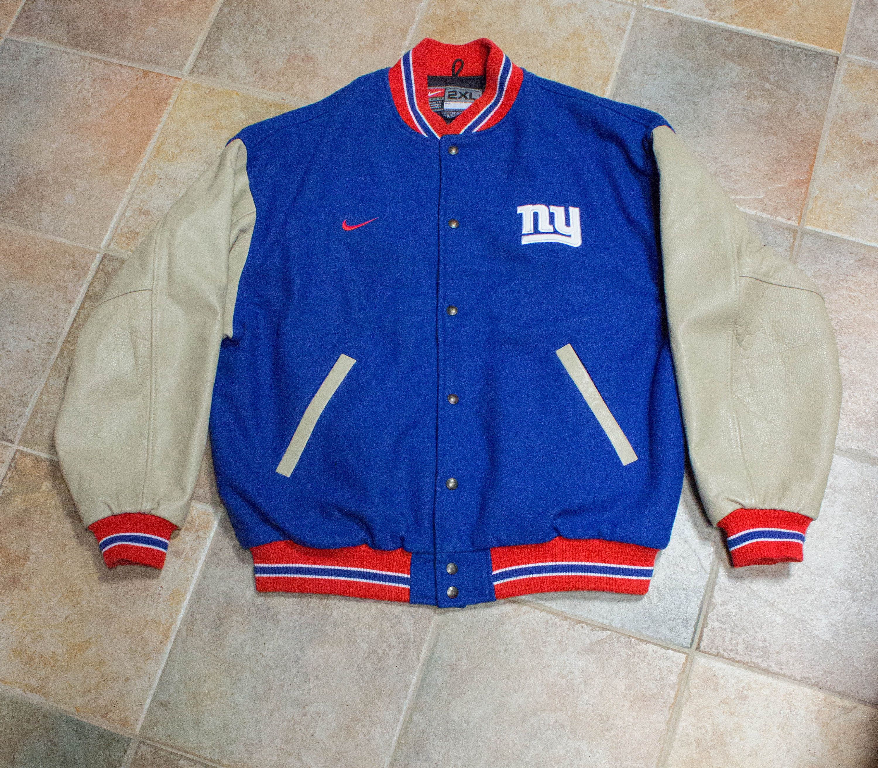 90s NFL New York Giants Nike Team Letterman Jacket- 2XL XXL- Tan Leather  Sleeves- Football Jacket by JenuineCollection on Etsy d4dd909a3