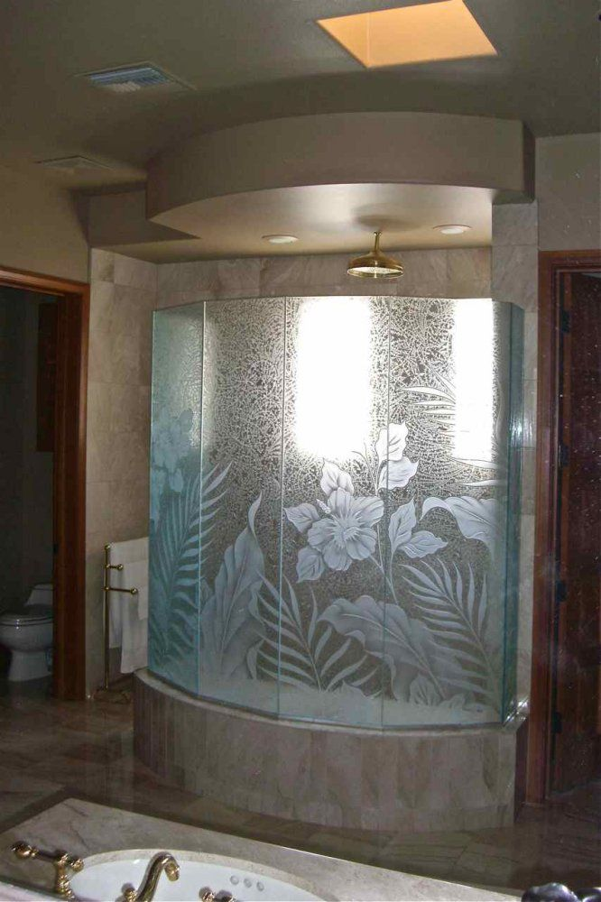 4 Panel Semi Frameless 3 8 Quot Heavy Glass With Etched And