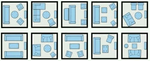 Ways To Organize / Arrange Living Room Furniture In Small Space. G;)