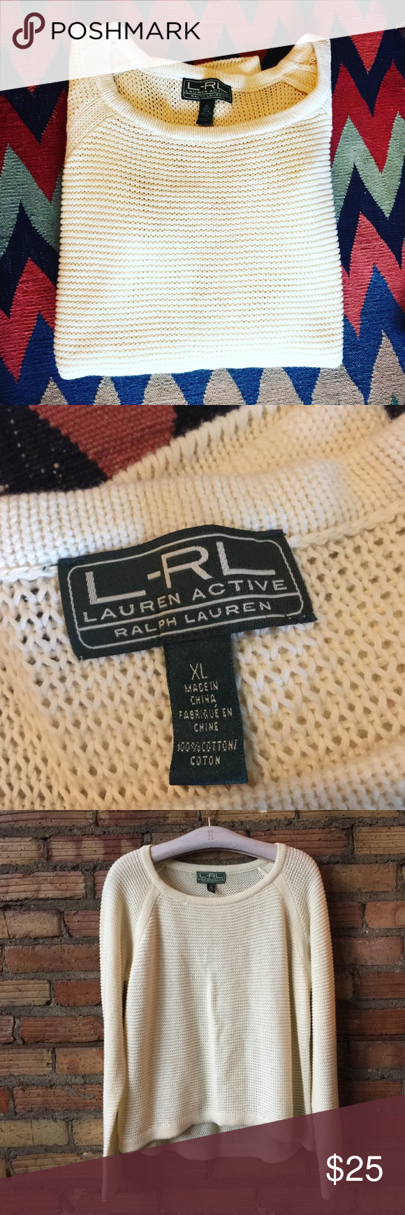 Ralph Lauren cropped loose knot cotton sweater In excellent pre loved condition-- goes with every season! I think a large would look good in this too, maybe even a medium. Ralph Lauren Sweaters
