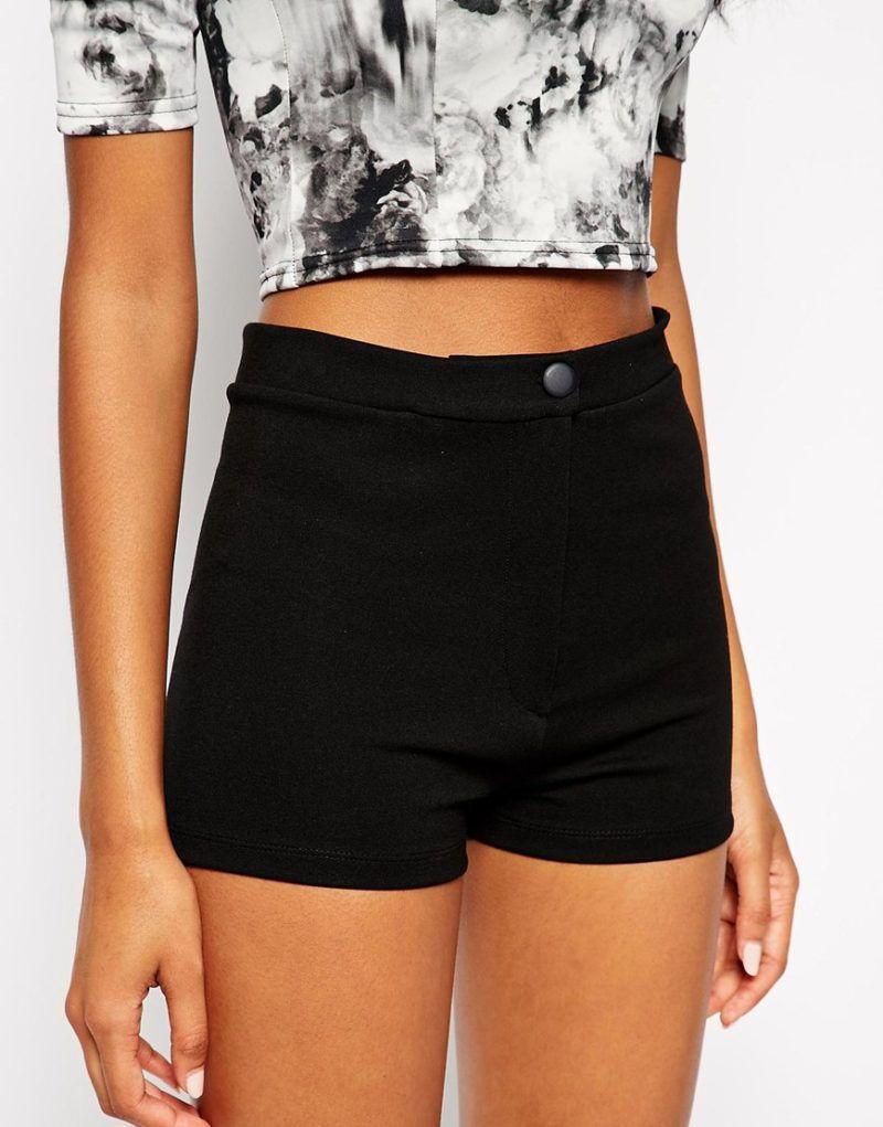 Asos Black High Waisted Tube Shorts | Black High Waisted Shorts ...