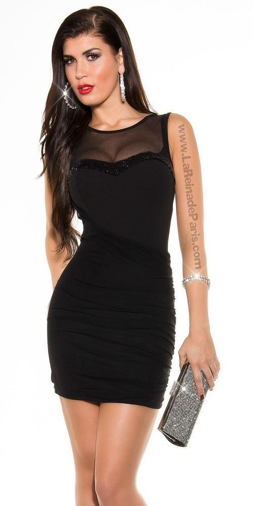 5e7d724c3 Vestido negro velado y aplicaciones de lentejuelas Zamara