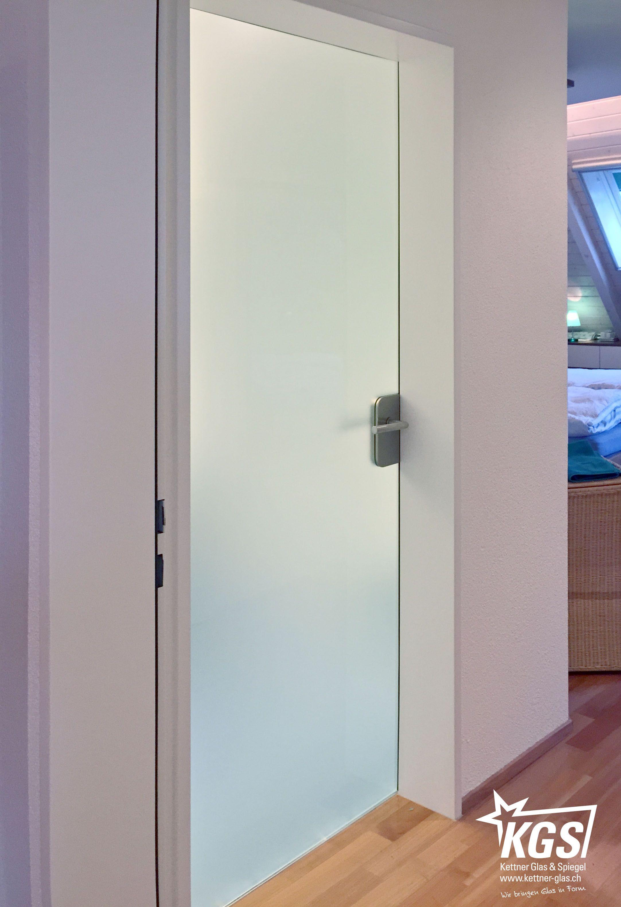 Diamant Satinato Glastüre Als Holztürenersatz Für Glastüre Zwischen  Badezimmer Und Schlafzimmer Mit Dorma