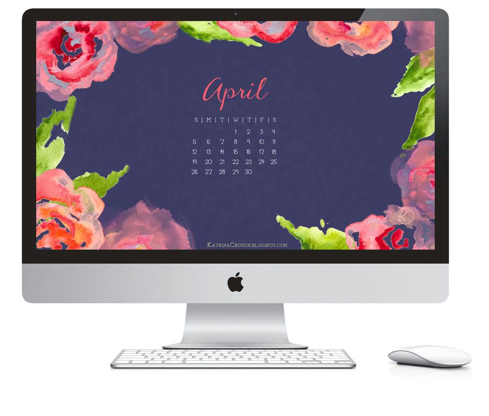 Macbook Wallpaper Calendar : Katrina illustration and design april desktop calendar