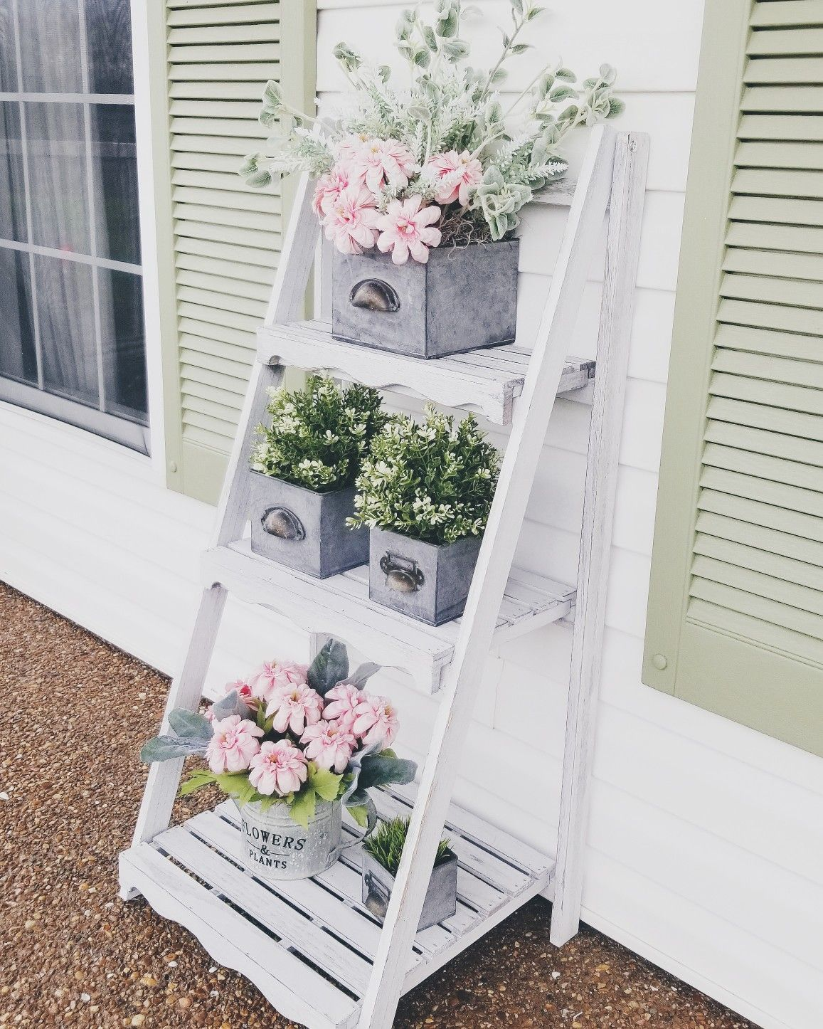 Front Porch Decorating: Outdoor Ladder Spring Summer Plants Faux Plants Farm House
