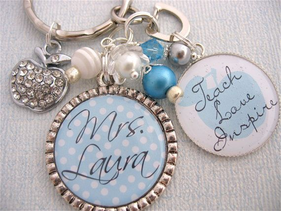 Baby Blue Polka Dot Personalized Keychain, Teacher teach love inspire    http://www.etsy.com/listing/91260542/teacher-gift-elegant-blue-polka-dot