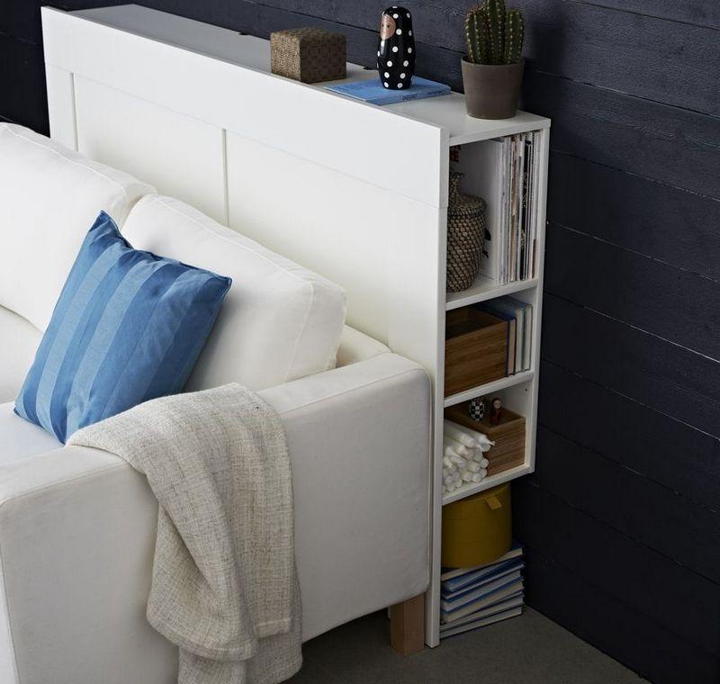 canap blanc avec rangement cach derrier par ikea am nagement maison pinterest ikea. Black Bedroom Furniture Sets. Home Design Ideas