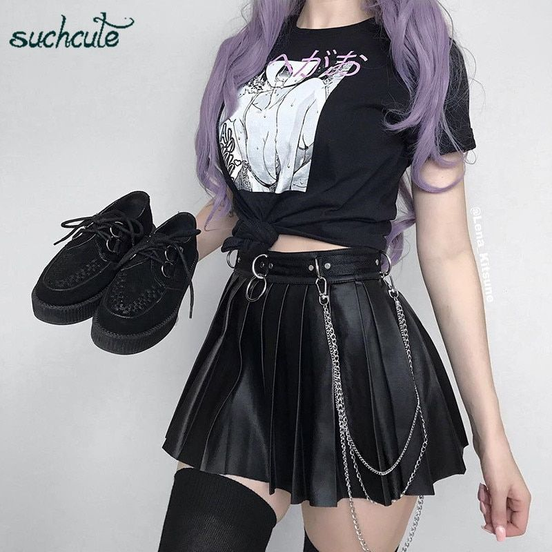 US $12.12 46% OFF|SUCHCUTE Women's Skirt Leather Short Skirt Fashion 2019 Pleated Skater Micro Mini Skirts Gothic Dancing Korean Style Saia Midi|Skirts| - AliExpress