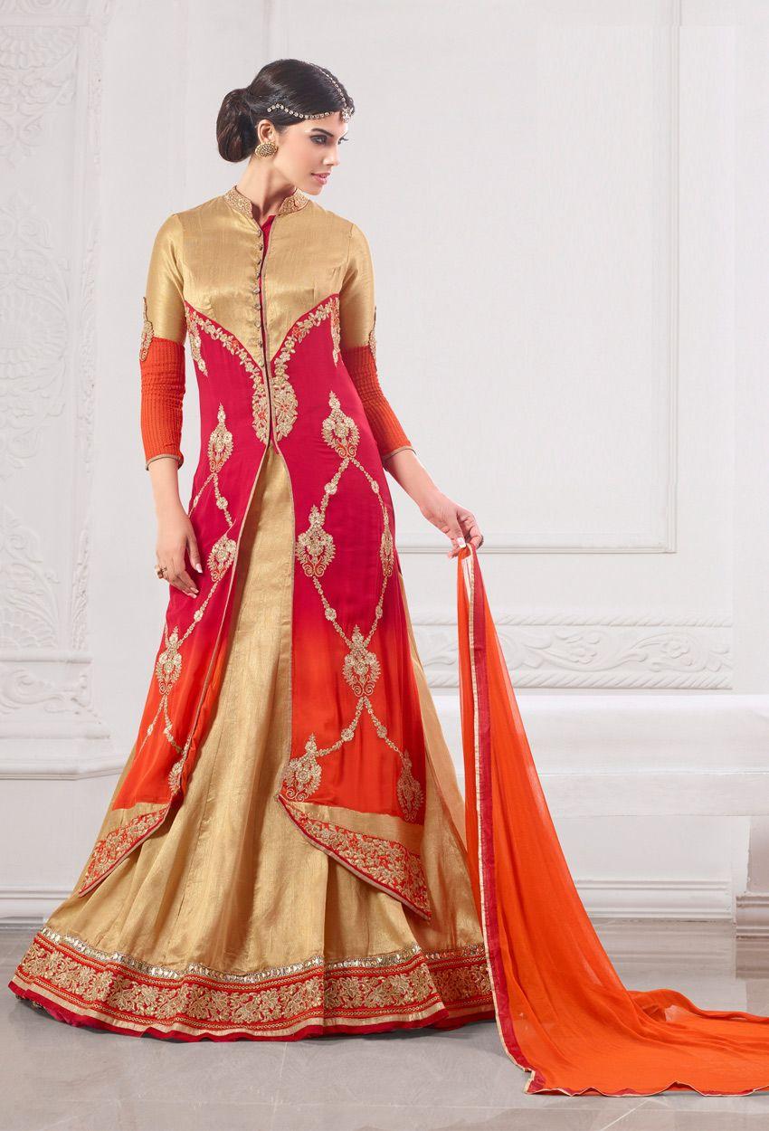 #Orange Faux Georgette #Abaya Style Kameez