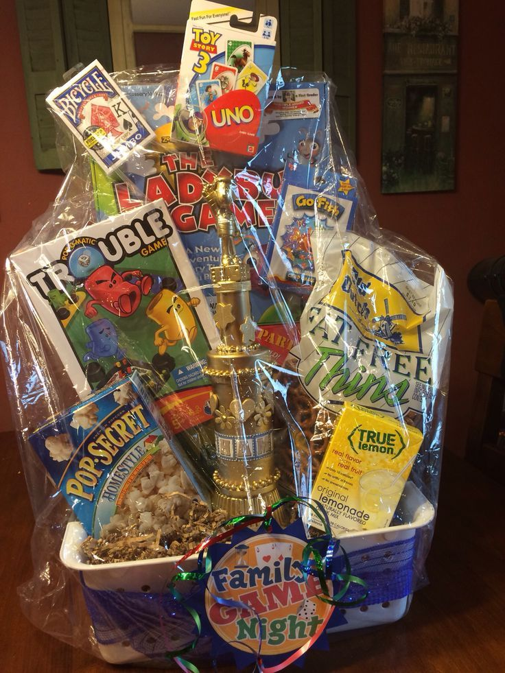 Family Game Night Basket Trophy, family game night, basket | Family ...