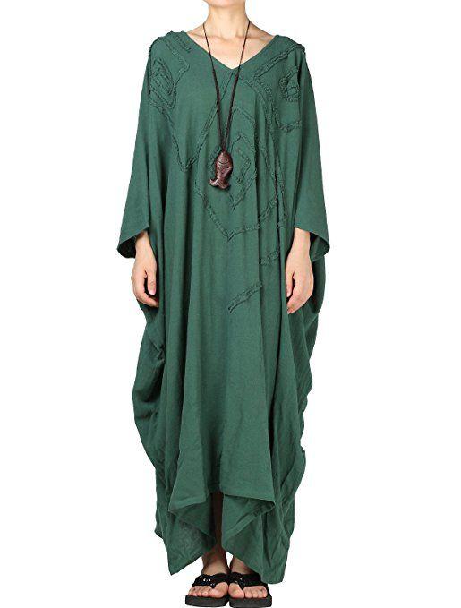 3277566a78f200 MatchLife Damen Kaftan Tunika Kimono Kleid Bat Ärmel Maxi Leinenkleid  Mittelalter lang Kleid (Fit EU