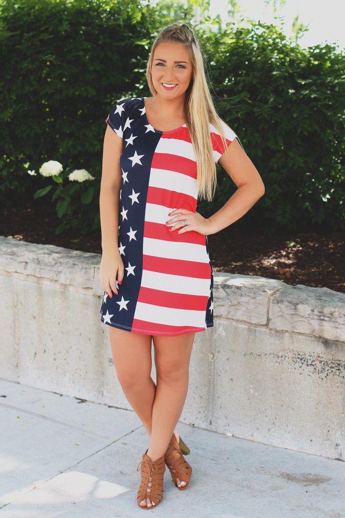 84f4ea935c2 Patriotic Short Sleeve Round Neck Dress