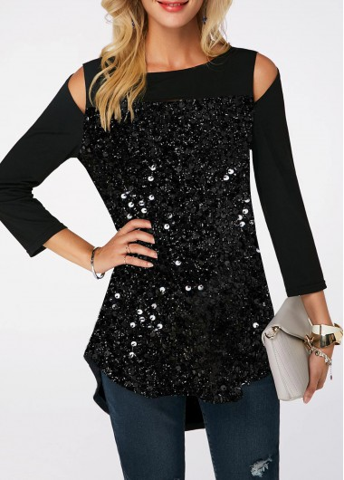 07a23f07f7259 Cold Shoulder Black Curved Hem Sequin Embellished T Shirt