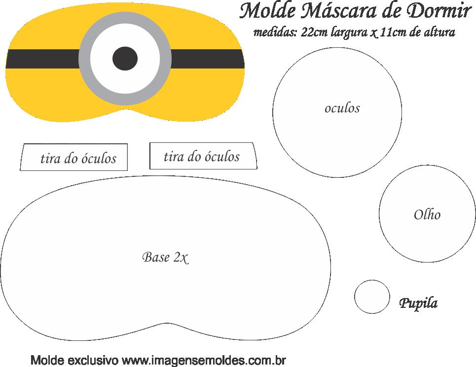 Molde Máscara de Dormir Minions - Molde Feltro - EVA e Artesanato ...