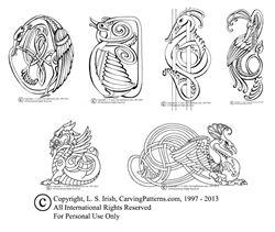 2013 Free Line Art Pattern Pack by L S Irish, Five Viking Animals Celtic Knot Patterns