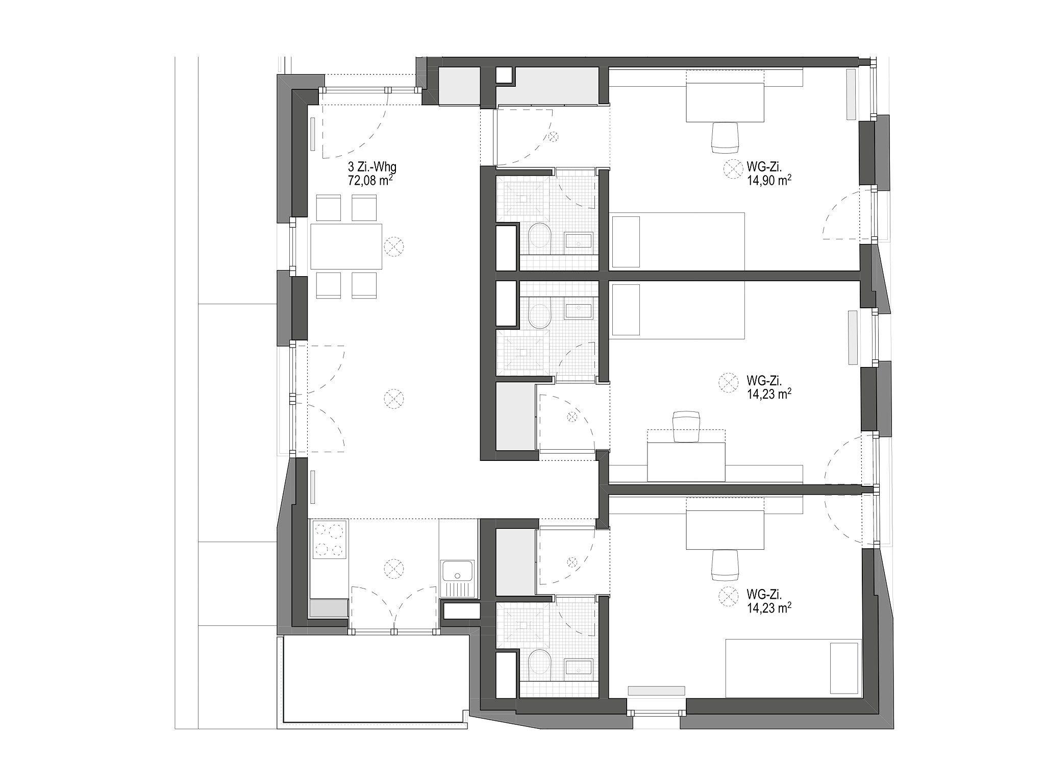 3 zimmer wohngemeinschaft geier maass architekten grundrisse pinterest. Black Bedroom Furniture Sets. Home Design Ideas