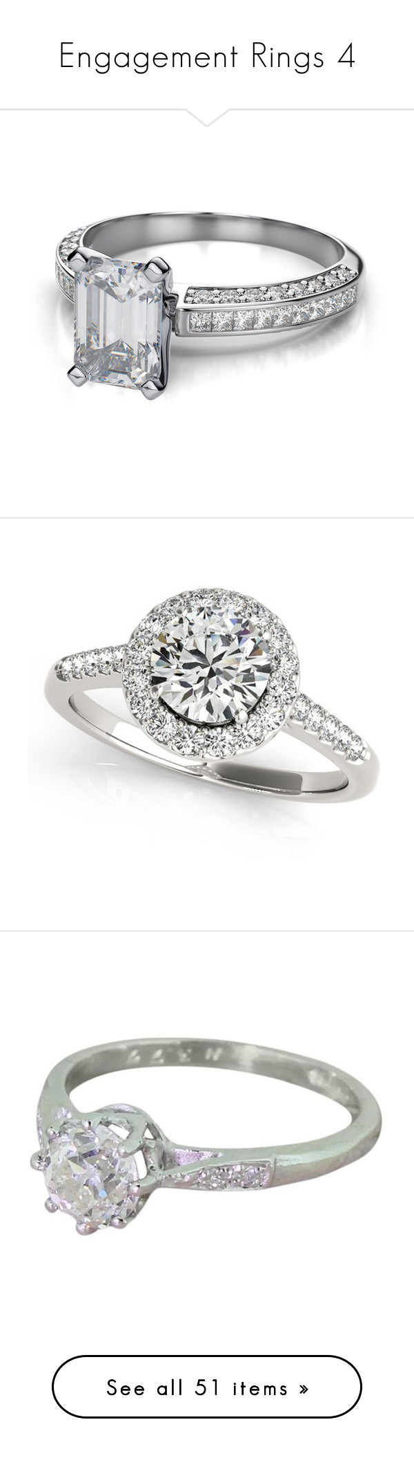 """""""Engagement Rings 4"""" by o-hugsandkisses-x ❤ liked on Polyvore featuring jewelry, rings, emerald cut engagement rings, 14 karat white gold ring, princess cut engagement rings, channel setting ring, round ring, platinum engagement rings, wedding band rings and diamond band ring"""