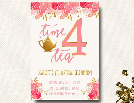 Th Birthday Party Invitation Time Four Tea Tea Party  Birthday