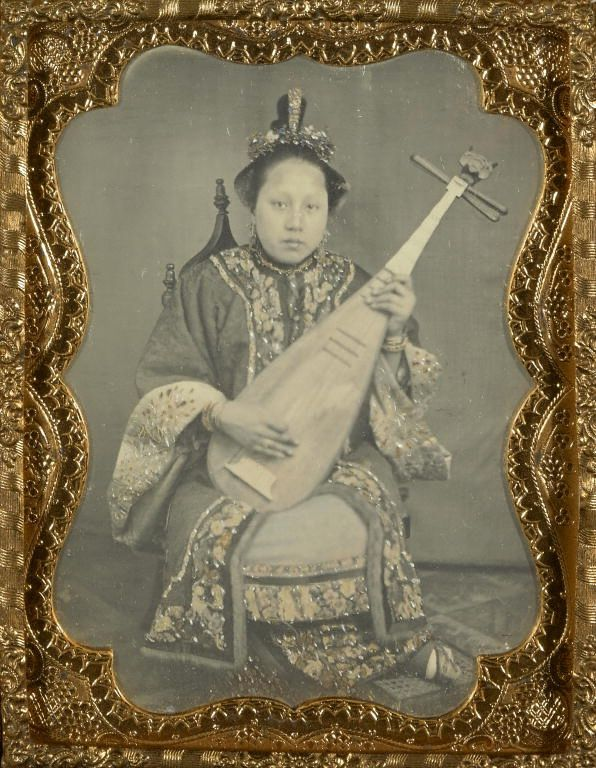 Chinese woman with a mandolin -- American daguerreotype