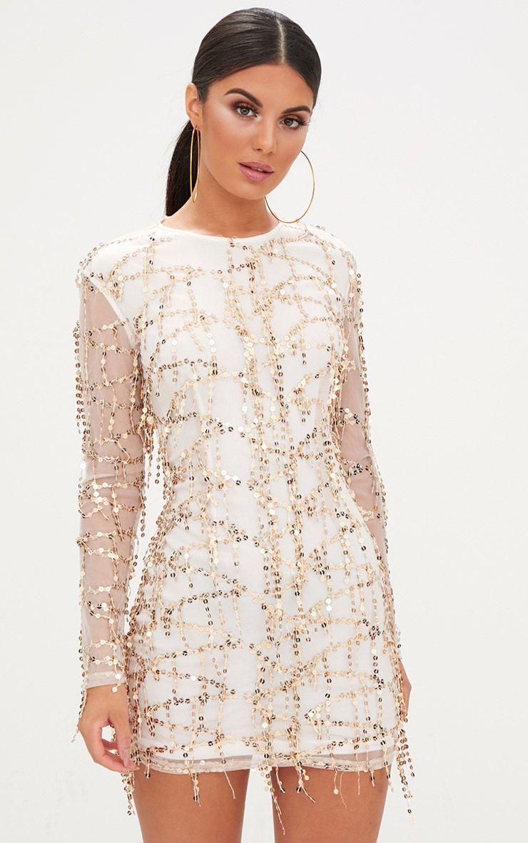 Rose gold sequin detail long sleeve bodycon dress dresses