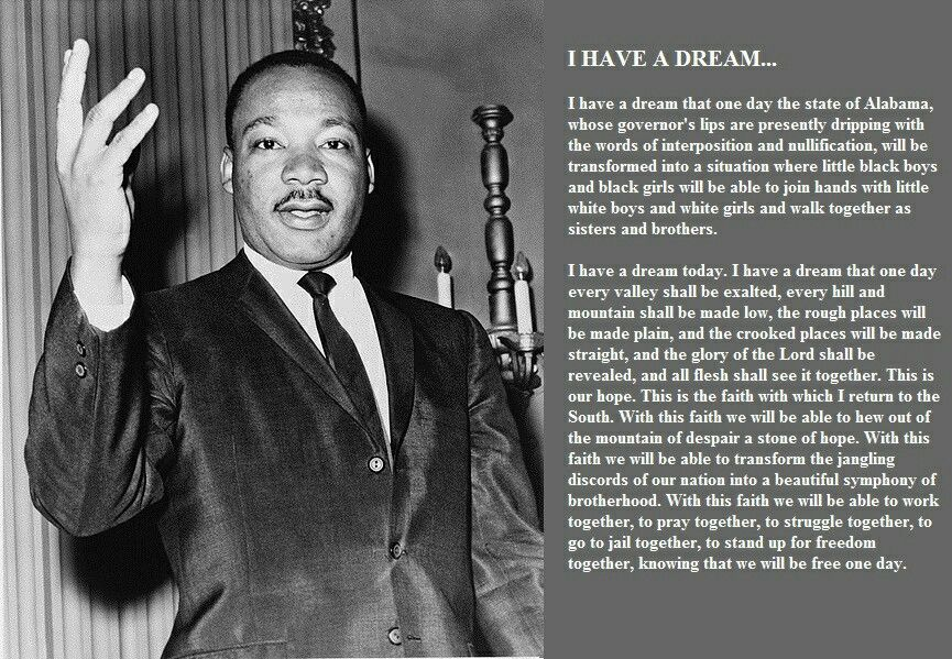 mlk i have a dream speech Dr martin luther king, jr delivered his famous i have a dream speech on august 28,1963 at the lincoln memorial he discussed racial inequality, eliminating racism and his desire for everyone to coexist peacefully.
