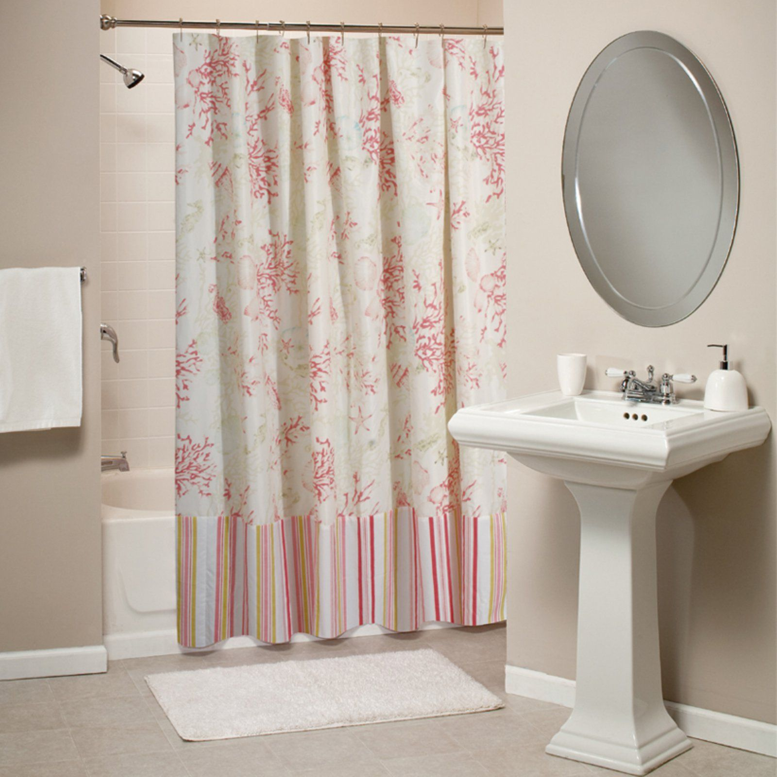 Home Fabric Shower Curtains Red Shower Curtains Coral Shower
