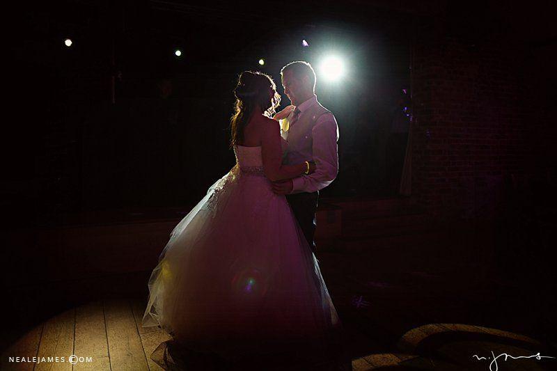 Backlit first dance image from Wasing Park, Berkshire / nealejames.com