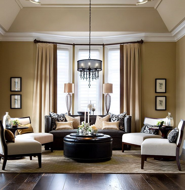 Bay Window Drapery Panels Living Rooms  Family Rooms  Jane Pleasing Interior Designs For Living Rooms Inspiration Design