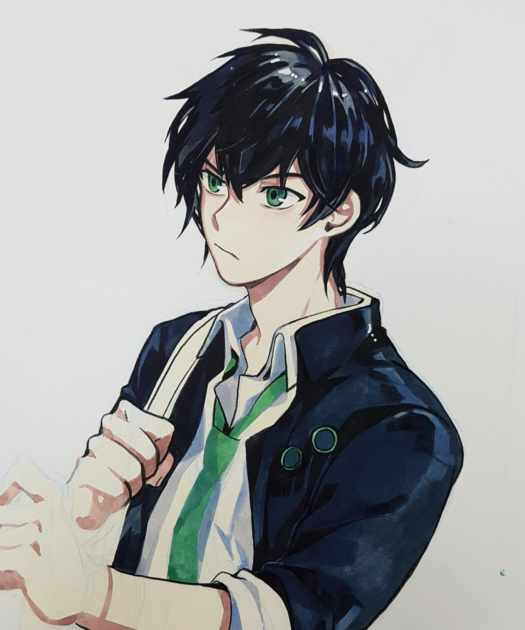 Anime guy black hair green eyes green tie school uniform formal