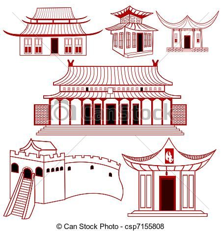 Chinese Traditional Buildings Csp7155808 Houses Illustration