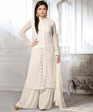 dee88393f Be the sunshine of everyone s eyes dressed in this beautiful off white  color faux georgette Drashti Dhami