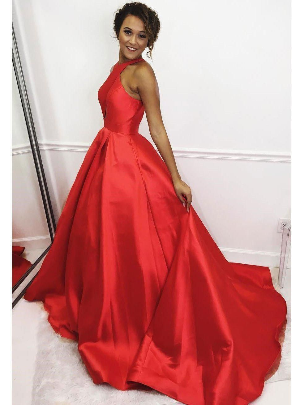 Red Simple Prom Evening Dress Plus Size Long A Line Satin Graduation Dresses G4368 Simple Prom Dress Red Prom Dress Prom Dresses [ 1310 x 983 Pixel ]