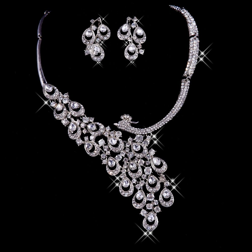 Beautiful Bridal Sets | Beautiful Bridal Jewelry Set with two colors by Long Wedding Dress