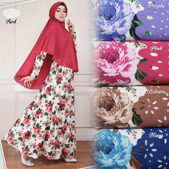 Model Baju Gamis Syar I Misby Motif Bunga G1277 Terlaris Edisi Idul