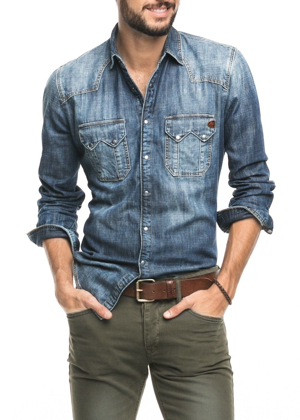 091b7e5438f Slim-fit dark denim shirt - Men