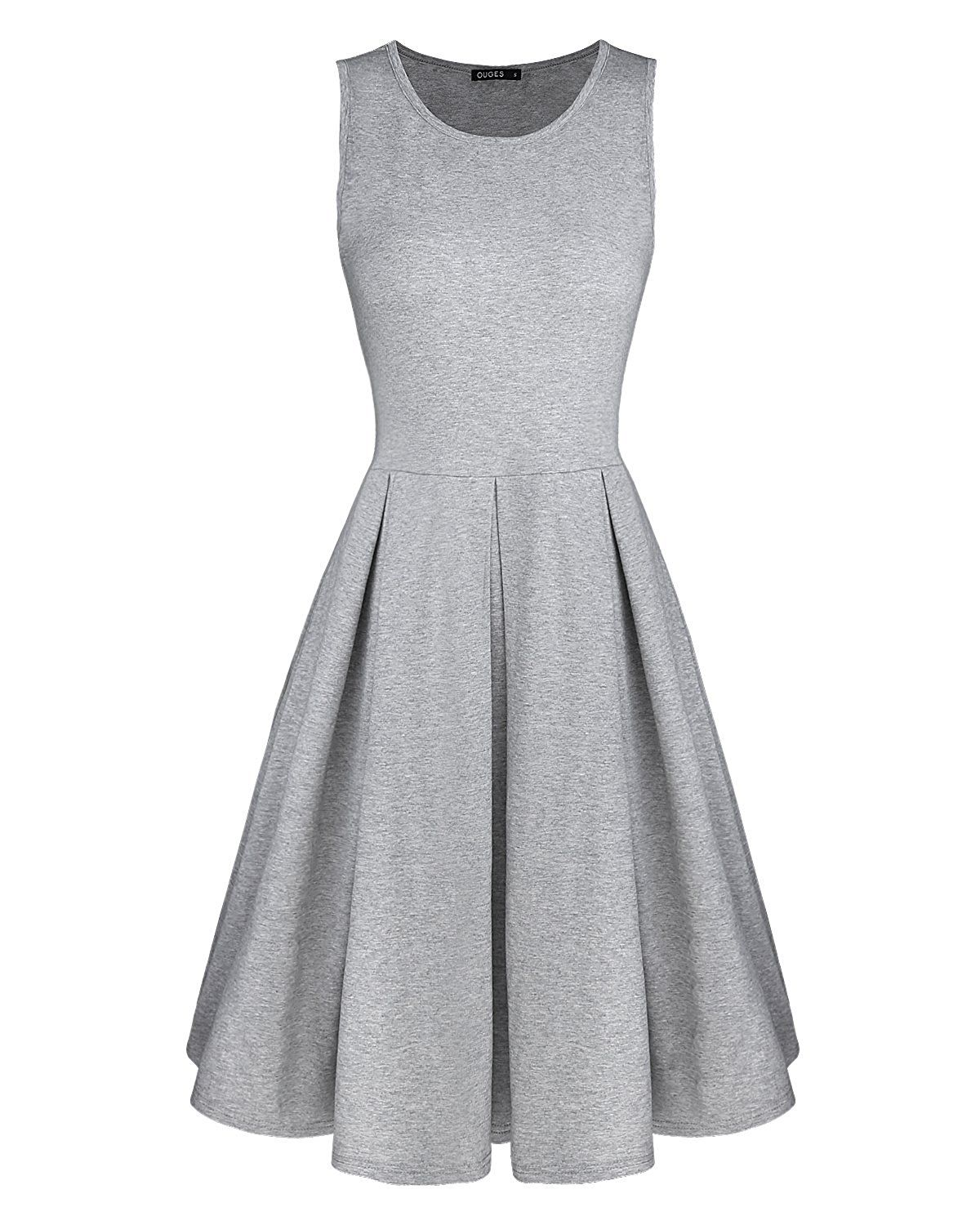 9d9923f769d Styleword Women s Sleeveless Casual Cotton Flare Dress at Amazon Women s  Clothing store