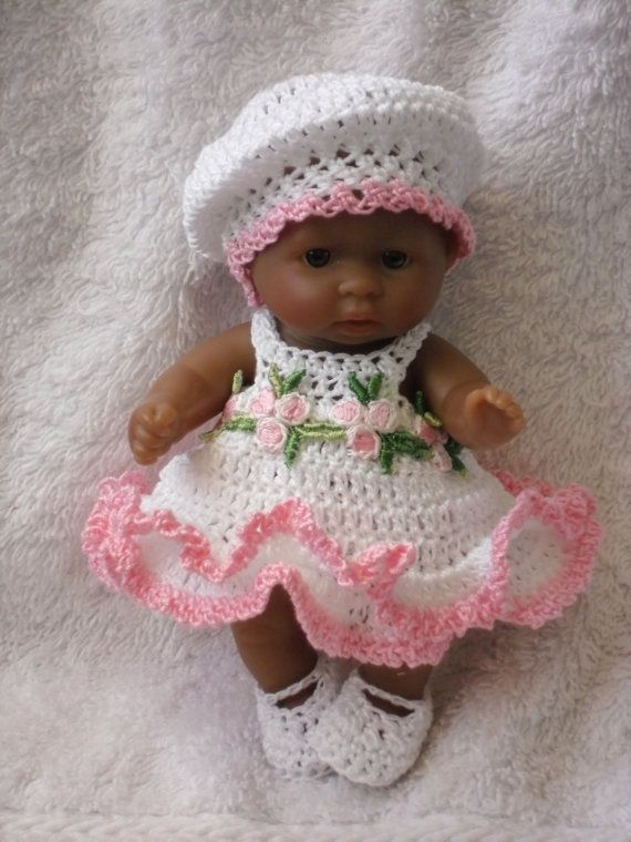 Crochet pattern for Berenguer 5 inch baby doll - dress, beret, knickers and shoes #babydoll