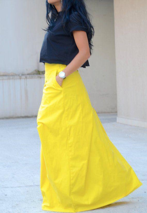 b6ee50b2e69 Lemon Yellow Long Festival Skirt from Soft Cotton