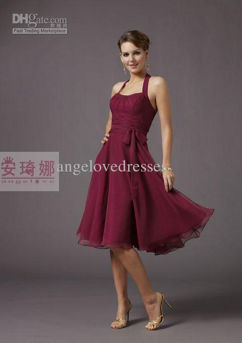 f05b2129a12 Wholesale Halter Short Knee-length Wine Red Chiffon Bridesmaid Dresses  Wedding Party Formal Dress Homecoming