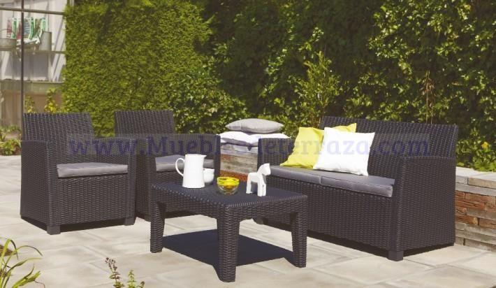 Conjunto de sof s de terraza exterior en resina sint tica for Conjunto muebles terraza