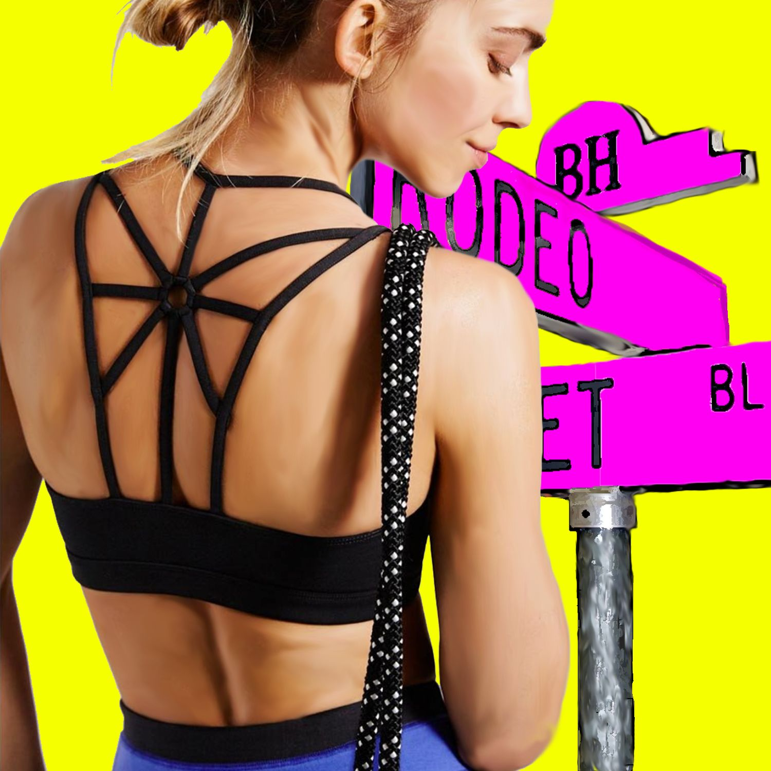 63c97974c9c21 Who says you shouldn t walk down Rodeo Drive in your sports bra  Wear our  Sunburst sports bra. Just be prepared to avert your eyes when the Paparazzi  start ...