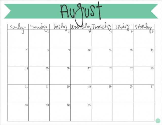 August  Calendar  Free Printable  Free Printable Monthly
