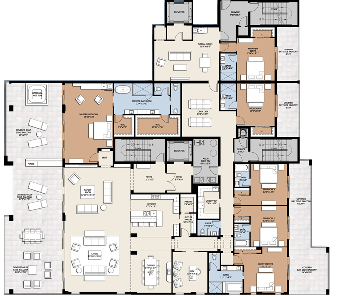 Infinity longboat key 6 bedroom penthouse floorplan home floorplans condos pinterest - Lay outs penthouse ...